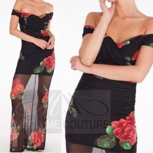 Dresses - Black & Red Roses Maxi dress New